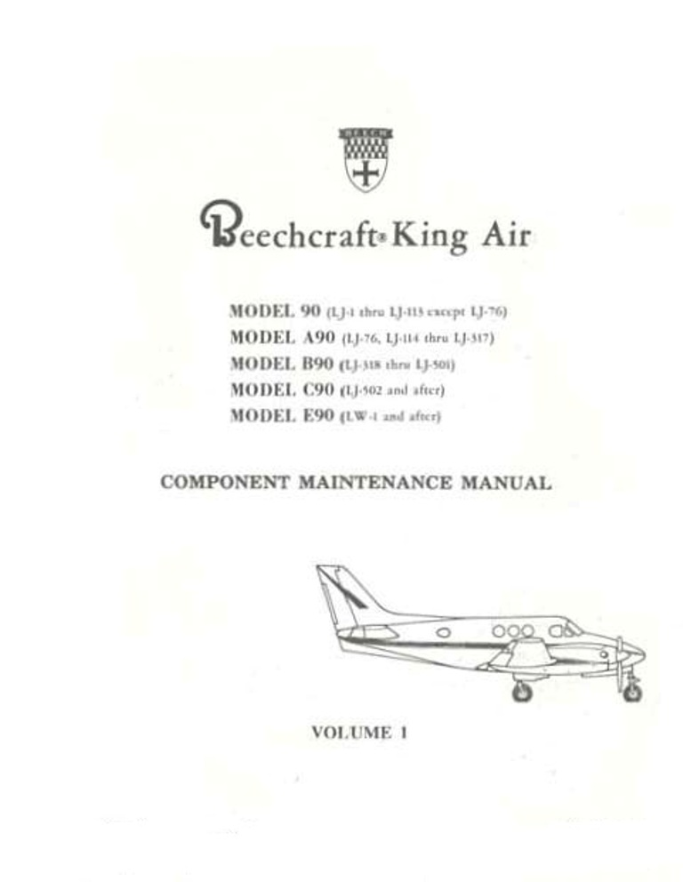 beechcraft king air model 90 component and maintenance manual rh eaircraftmanuals com king air 350 maintenance manual pdf king air maintenance manual pdf