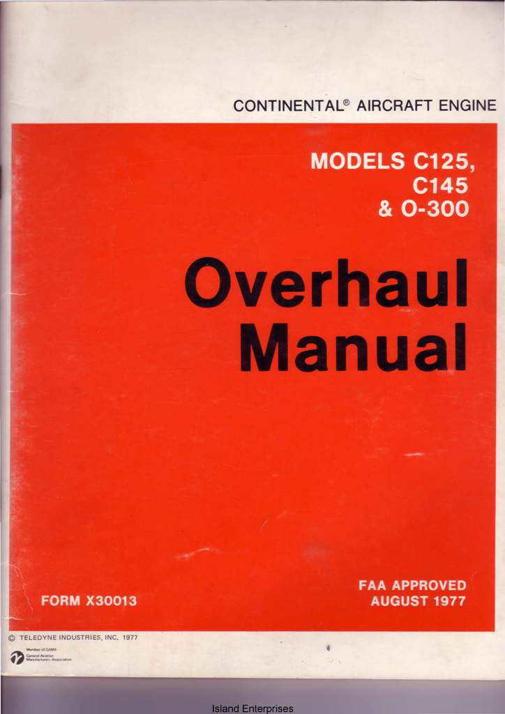 Overhaul manual for z134 Continenal