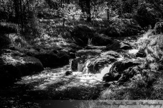 Black and white image of water falls
