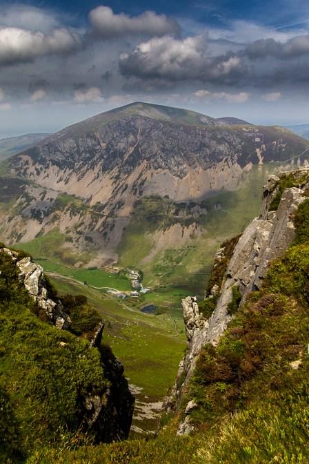 A long way down a gully, with Mynydd Mawr opposite