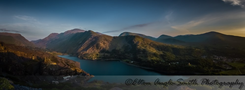 Panorama of the Llanberis Pass over Llyn Peris. A little blurred due to over-zealous noise reduction.
