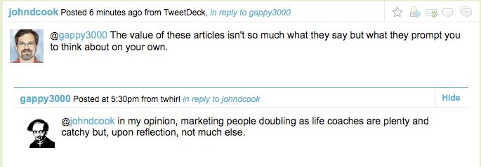 Twitter exchange between <a href=