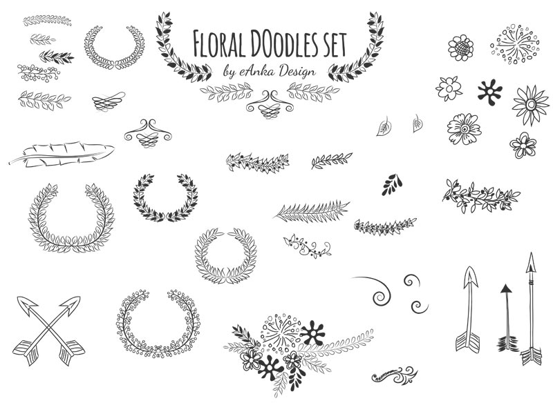Floral doodles for web design and print