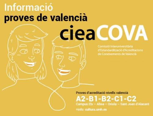 Cartell Informació proves en valencià cieaCOVA