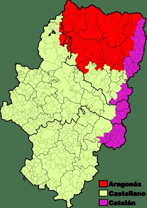 Mapa lingüístico de Aragón en el que se observan las zonas donde se habla aragoné (tercio norte)s, catalán (franja noreste y centro este) y castellano (resto del territorio)
