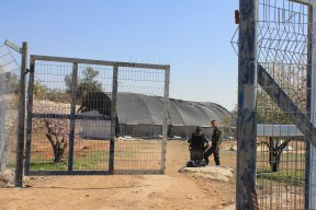 Off-limits. Israeli border police stand at the entry of the archaeological site and deny access to any wanting to enter the land. Photo EAPPI.
