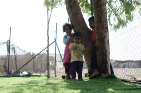 Small children from the community play in the playground. Photo EAPPI. 11.08.16