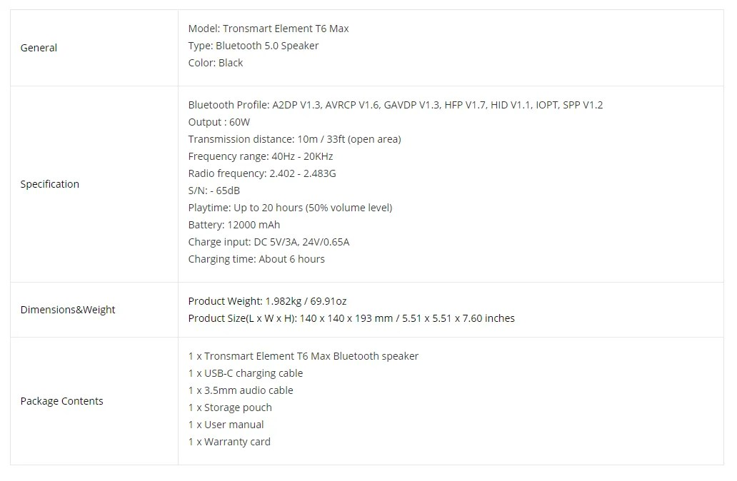 bluetooth speaker tronsmart t6 max review 13