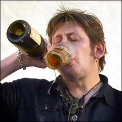 A two-fisted drinker.