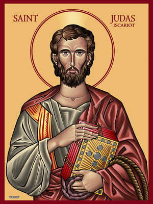 Judas reimagined as a Saint, in the icon style of the Orthodox churches. The Gospel book he carries is encrusted in silver coins; he carries a rope and his bowels are spilling out, symbolizing the varying accounts of his death.