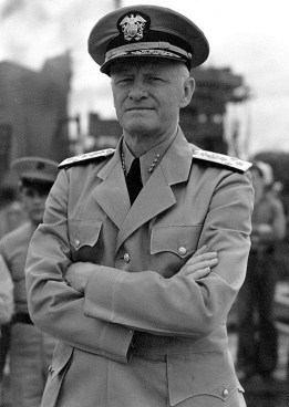 "Adm. Chester W. Nimitz, Commander in Chief, Pacific Fleet, circa 1942, the last of the Navy's 5-star admirals.  In late March 1965, a week before his meeting with General Wallace M. Greene Jr. at Marine Corps Headquarters in Arlington, Virginia, Nimitz called Goerner in San Francisco. ""Now that you're going to Washington, Fred, I want to tell you Earhart and her navigator did go down in the Marshalls and were picked up by the Japanese,"" Goerner claimed Nimitz told him. The admiral's revelation appeared to be a monumental breakthrough for the determined newsman, and is known even to many casual observers of the Earhart matter. ""After five years of effort, the former commander of U.S. Naval Forces in the Pacific was telling me it had not been wasted,"" Goerner wrote."