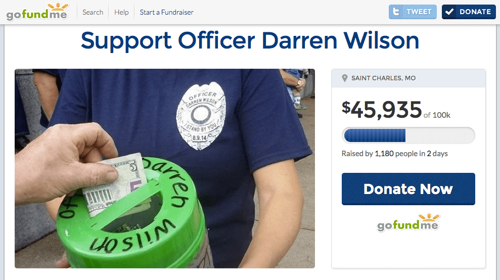go fund me for darren wilson