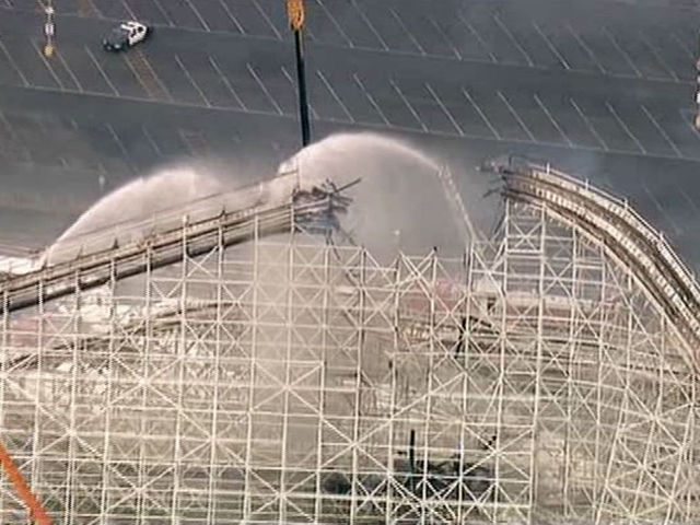 Colossus Roller Coaster At Six Flags Magic Mountain Catches Fire