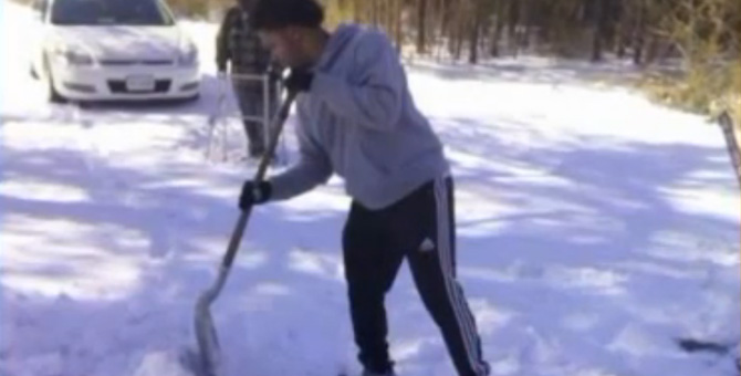 Young Man Tells Mom To Stop The Car Gets Out To Help A Senior Citizen With A Walker Shovel His Snow