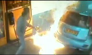 Woman Who Was Refused A Cigarette Sets Gas Station Nozzle On Fire Burning Mans Car