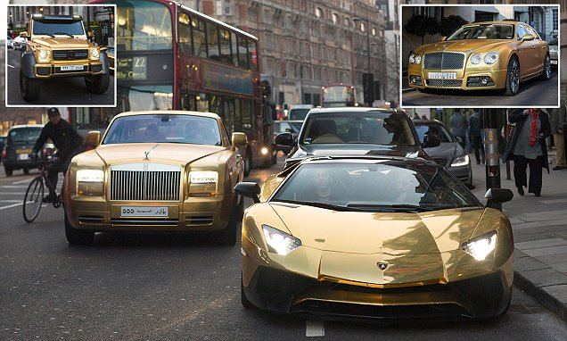 Saudi Billionaire Flies His £1m-Plus Fleet Of GOLD Highend Cars To London While On Vacation