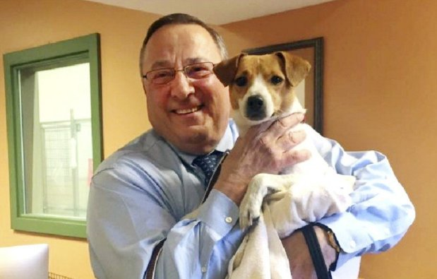 Maine Governor Paul LePage with his 2-year-old Jack Russell terrier mix, Veto. Photo Credit: GAHS