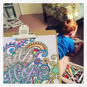 Coloring with my baby ginger boy.