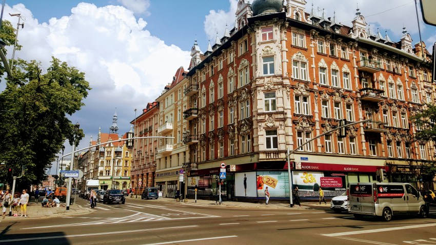 Baroque buildings at street corners of Gliwice