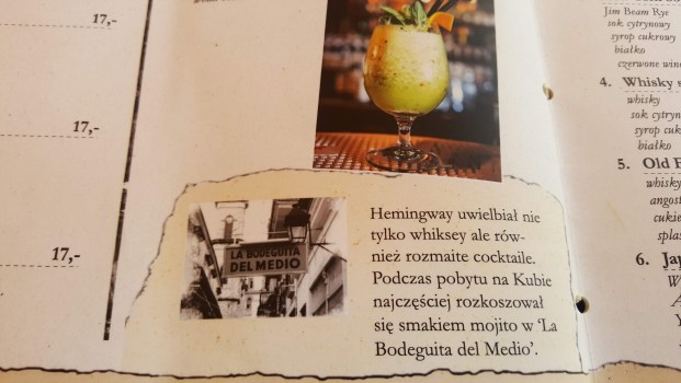 Menu describes a Hemingway cocktail in Polish