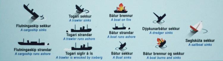 Versunkene Schiffe um Island