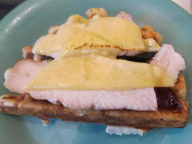 savory waffle with roast turkey breast, havari cheese & raspberry jam