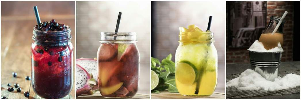 (from left to right), blueberry tea whiskey, sangria, mango mojito, super chilled milk tea