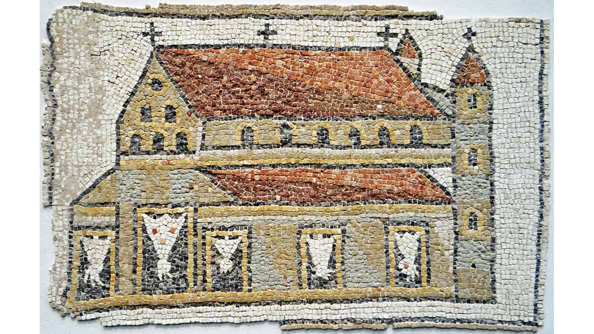 An Eastern Roman mosaic showing a basilica with towers, mounted with Christian crosses, 5th century, Louvre