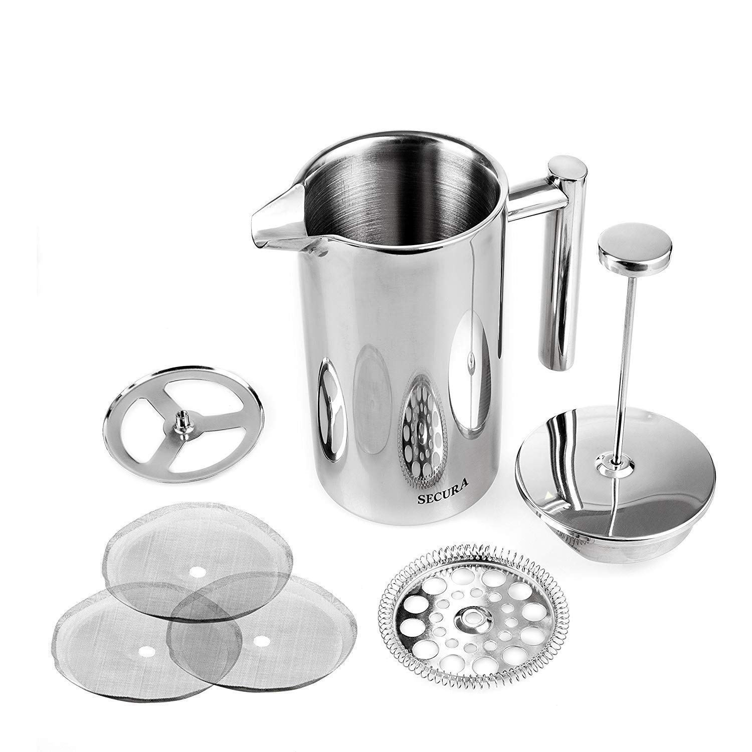 Stainless Steel French Press 18/10 w/ Bonus Stainless Steel Screen