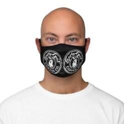 Black Double Badge Fitted Polyester Face Mask