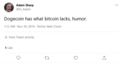 Adam Sharp Tweets About Dogecoin