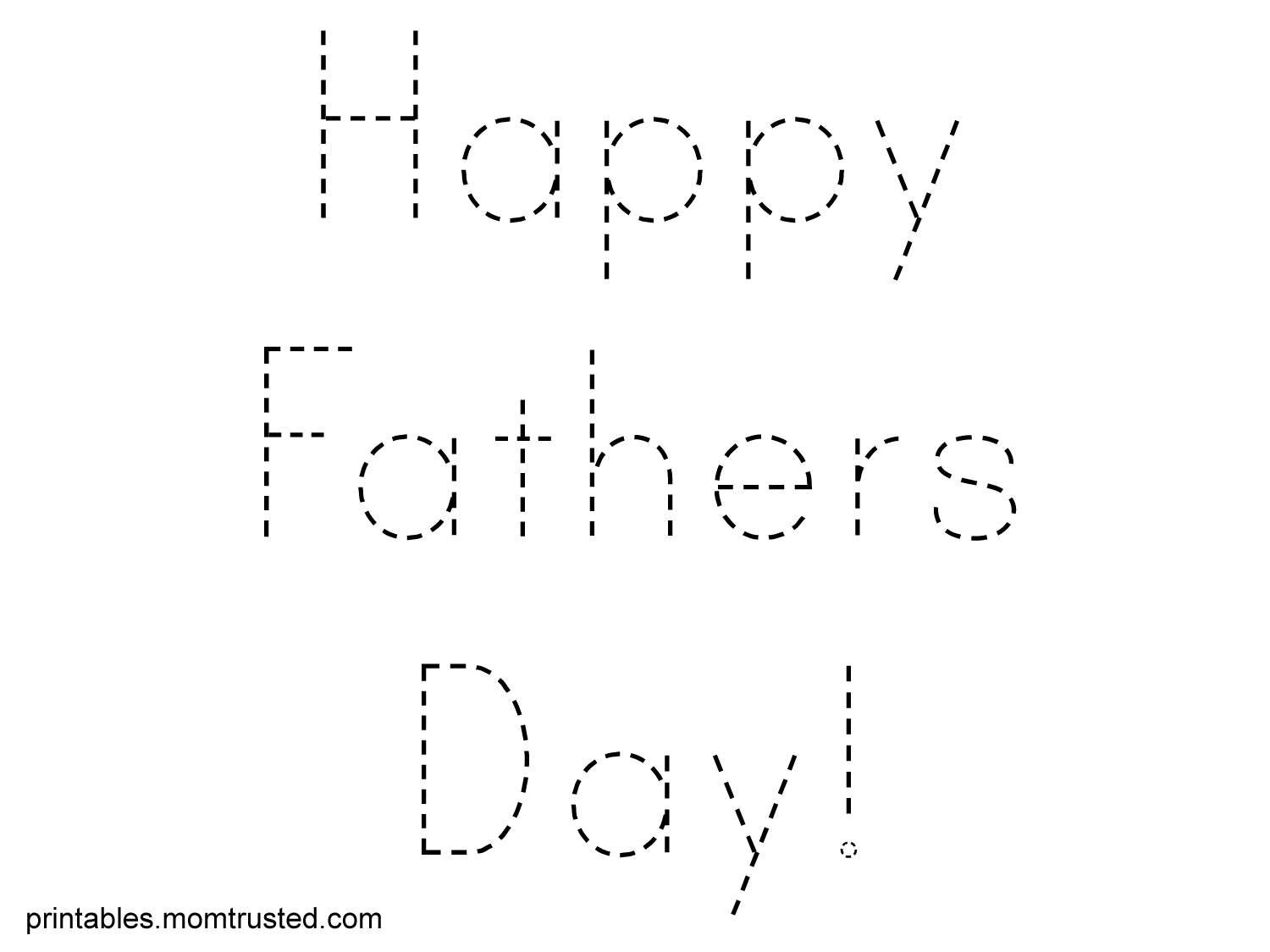 Happy Father S Day Traceable Words Sheet