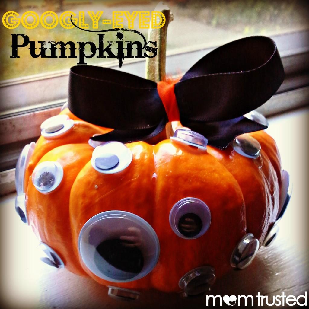 Easy No Carve Googly Eye Pumpkin Decorating Idea