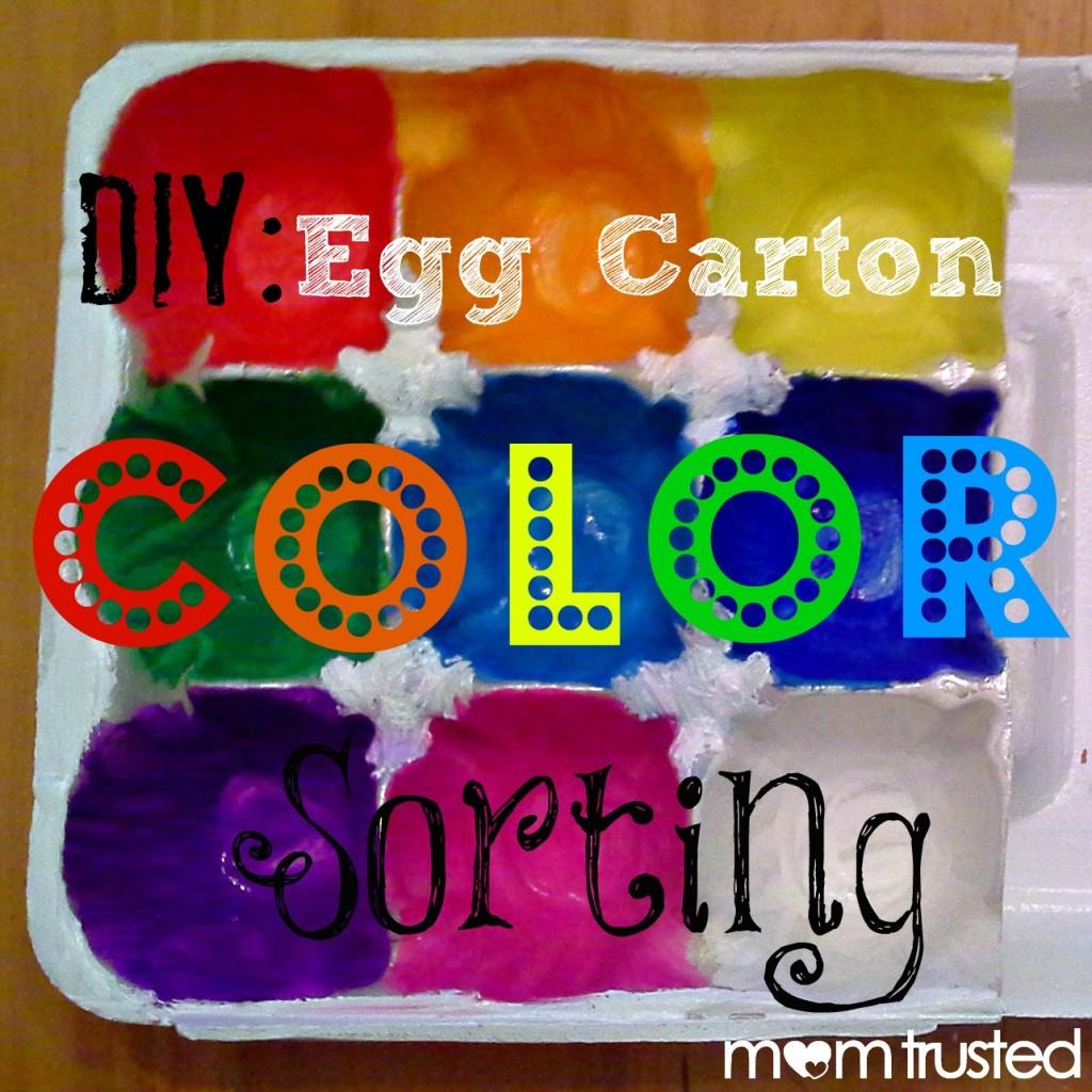 Preschool Egg Carton Color Sorting Activity