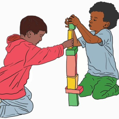 An illustration of two children playing with blocks together