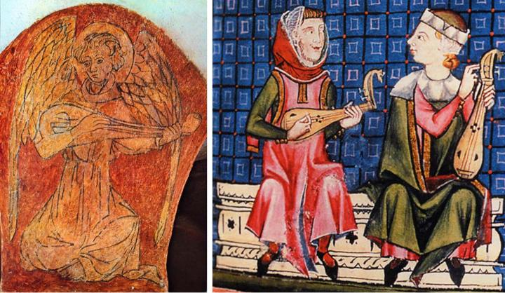 Left: Possibly the earliest depiction of a gittern, painted on a pillar of the Bayeux Cathedral crypt, 11th century, Normandy. Does this instrument have 2 courses or 4 single strings? It's difficult to know the reality, since the anatomy of both angel and gittern in the drawing is clearly an approximation. Right: Gittern on the left and rebec on the right, as portrayed in the Cantigas de Santa Maria, 1260-80. The gittern and rebec were essentially the same bowl-back instrument carved from a solid piece of wood, but the gittern was plucked and fretted and the rebec bowed and unfretted, which meant they had different bridges. If this representation is entirely accurate, then both instruments at this point shared 3 single strings and D shaped sound holes. As noted under the Cantigas ouds above, mediaeval artists could be rather approximate with numbers of strings and pegs, but the similarity in gittern and rebec here is so striking that I'm inclined to believe it.