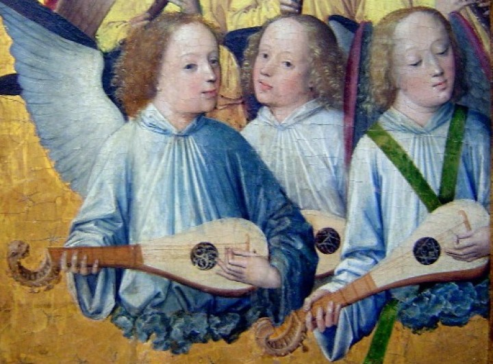 Angels playing 5 course gitterns with quills, painted by the Master of the Lyversberger Passion (detail), 1460-1490, Cologne, Germany.