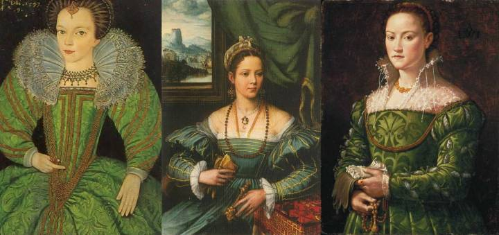 Three renaissance women wearing green. Left to right: Jane Palmer, c. 1565–before 1634, England; unknown woman, c. 1550, by Flemish painter Peter de Kempeneer; Florentine noblewoman, 1540s, painter unknown.