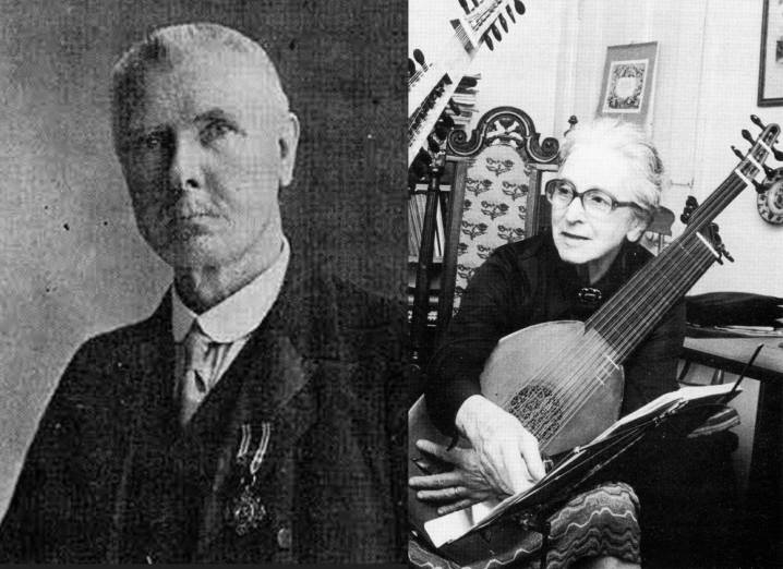 Left: The puzzling W. H. G. Flood. Right: The ground-breaking Diana Poulton, to whom the early music world owes a great debt.