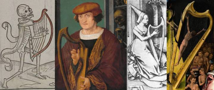Hans Holbein the Younger (ca.1497-1498), Portrait of Johannes Zimmermann HeidelbergerTotentanz1488_harp1_a Israhel van Meckenem (circa 1440–1503) Link back to Creator infobox template wikidata:Q77554 The Lute Player and the Harpist Date circa 1490 Medium copper engraving The Garden of Earthly Delights is the modern title[1] given to a triptych painted by the Early Netherlandish master Hieronymus Bosch, housed in the Museo del Prado in Madrid since 1939. It dates from between 1490 and 1510, when Bosch was between about 40 and 60 years old,[2] and is his best-known and most ambitious surviving work.