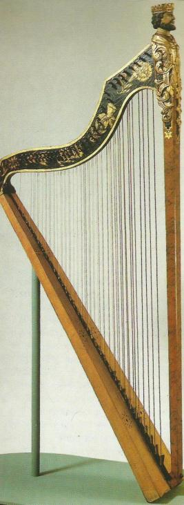 A surviving original Davidsharfe, a German double-strung harp with brays, made by Johann Volckmann Rabe in 1741.