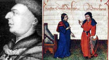John Dunstaple, Guillaume Dufay and Gilles Binchois, three founders of the new musical style of the renaissance.