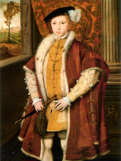 Edward VI at 9 years old, 1546, painter unknown. The clothes, the pose and, upon succession, the King's actions, all evidence of the boy carrying on his father's work.
