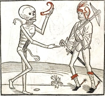 Death holding a gemshorn, a woodcut in the Heidelberger Totentanz, Germany, 1488.