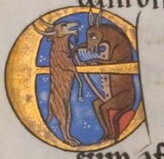 A donkey plays bray harp while a goat sings, from the Hunterian or York Psalter, 1170.