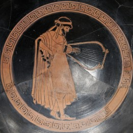 A depiction of a Greek musician with a lyre, 480 BC.
