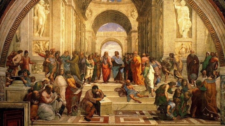 The School of Athens, a fresco in the Vatican painted 1509–1511 by Raphael (Raffaello Sanzio da Urbino), a vivid illustration of the idea of renaissance.