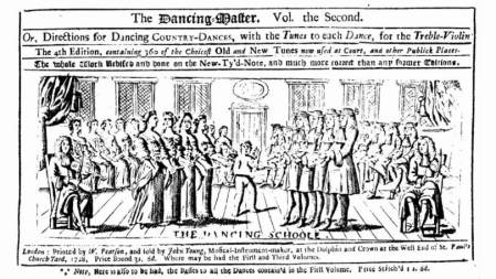 An edition of The Dancing Master from 1728, its last year of publication, no longer bearing the name of its originator, John Playford (1623–1686/7), who published the first edition in 1651.