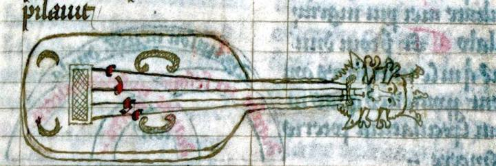 Vielle illustration showing tuning, from the Berkeley MS, before 1361.