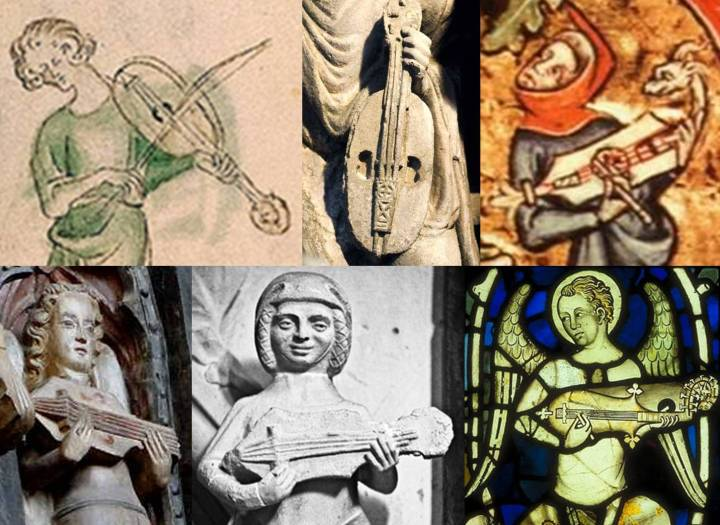 From left to right (click for larger view): a vielle from the Queen Mary Psalter, England, 1310–20 and from the Gate of Glory in Santiago de Compostela, Spain, 1188, both showing the end-pin attachment and tail-piece always seen on fiddles; a citole from the Peterborough Psalter, England, c. 1299-1315, showing the same arrangement, seen on the majority of citoles; English citoles from Exeter Cathedral, 14th century, and Beverley Minster, 15th century, both showing end-pins and a bridge (presumably not fixed, as is usual with this arrangement) but without the tail-piece – the Exeter citole also has sound-holes cut into the body, as with the Berkeley instrument; and a citole in a window of Lincoln Cathedral, England, 14th century, which lacks end-pins and a tail-piece, instead having a fixed bridge, like the Berkeley illustration. Could the fixed bridge be a coincidental mistake on the part of the Exeter and Berkeley artists, or an accurate representation of uncommon citole-making practice?